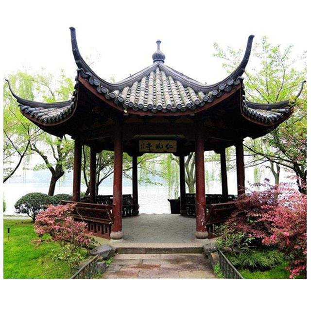 China Garden Wooden Hexagonal Shade Gazebo