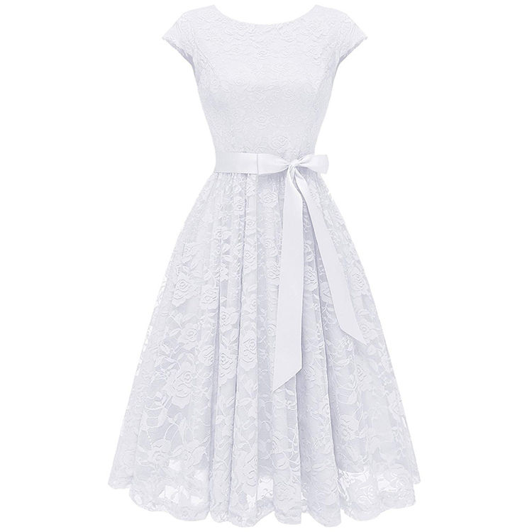 White women smart casual vintage lace dress with short sleeve