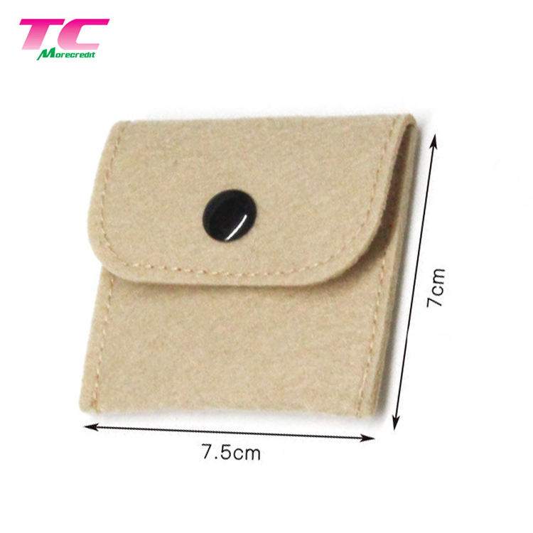 Custom Envelope Jewelry Pouches Small Felt Flap Jewelry Packaging Pouch With Snap Button