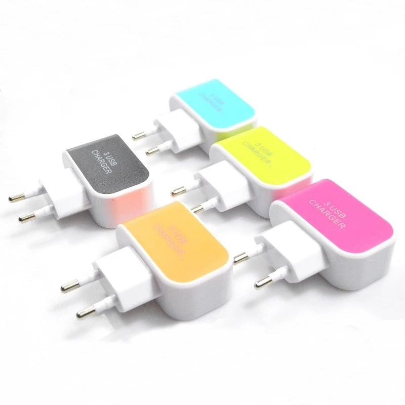 Mini Portable Charger Adapter, 3 Port 6A Charger Mobil Ganda USB