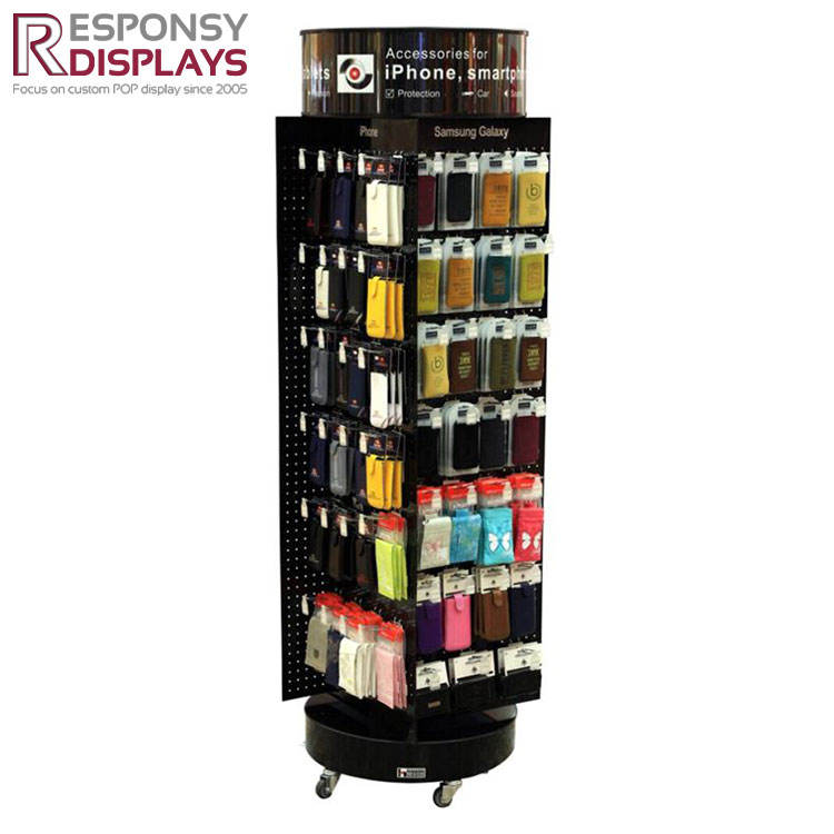 Wholesale Round Cylinder Vertical Floor Rotating Display Rack With Accessories