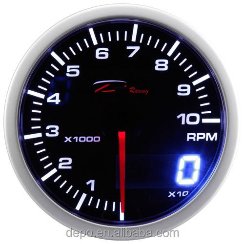 52mm Universal Car 12V Dual View Analog And Digital Display RPM Meter Digital Tachometer