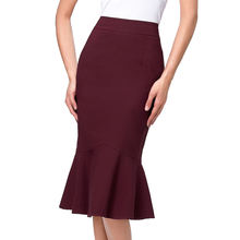KK000241 Occident Women's Fashion OL Causal Wine red Mermaid Hips-Wrapped Pencil Skirt