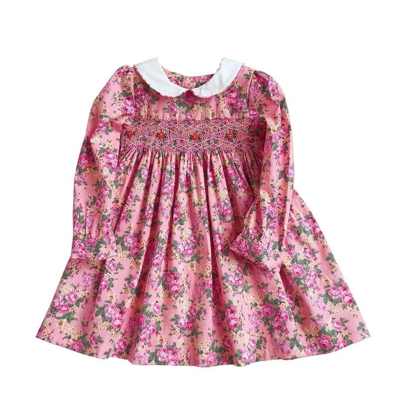 2019 spring tiny floral print baby girls party dresses long sleeve flower girls hand smocked dress 100% cotton wholesale 2-7 y