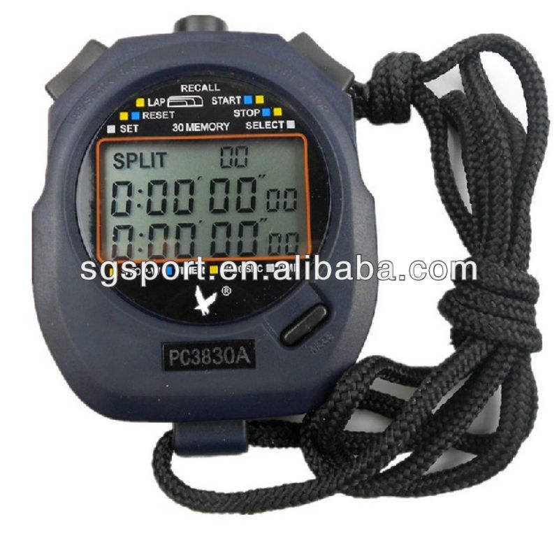 Grote schaal 3-Row screen digitale sport stopwatch timer chronograaf 60 ronden SGP3830A
