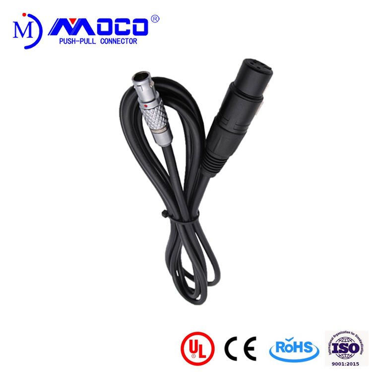 F Connector Custom Cable FGG Connector To XLR Plug Connector Cable Assembly