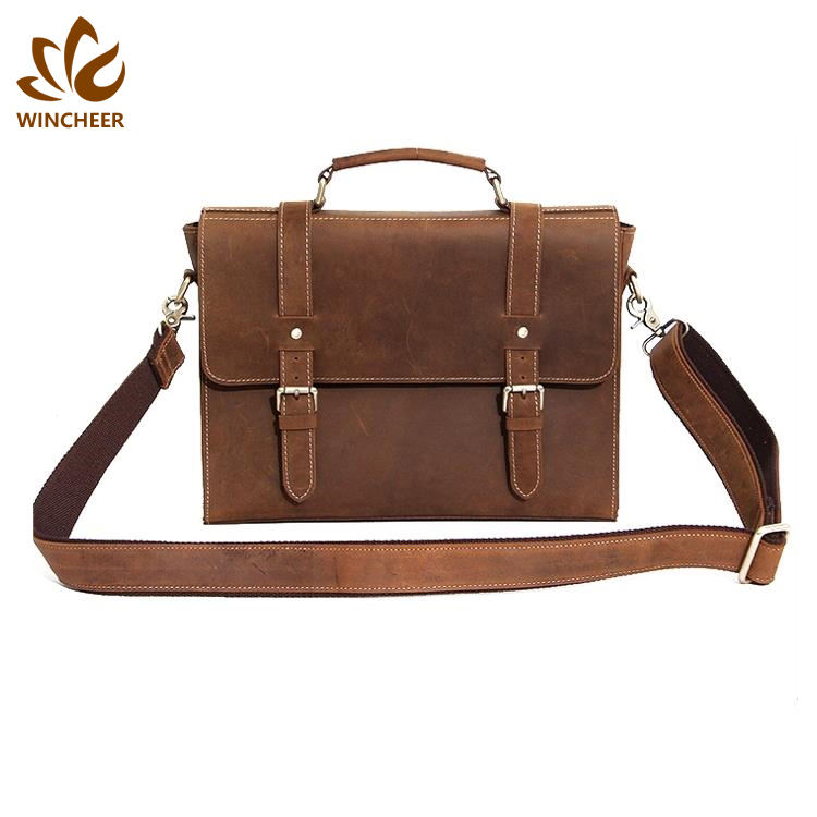 High quality detachable shoulder strap simple satchel vintage crazy horse leather men messenger bag