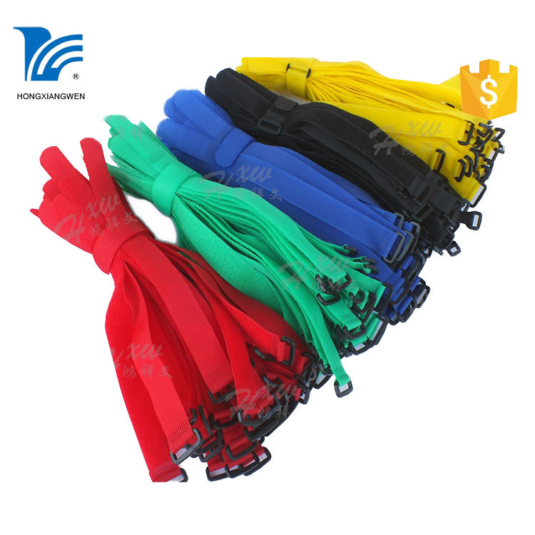 Colored hook and loop straps/adjustable nylon band/hook and loop cable ties