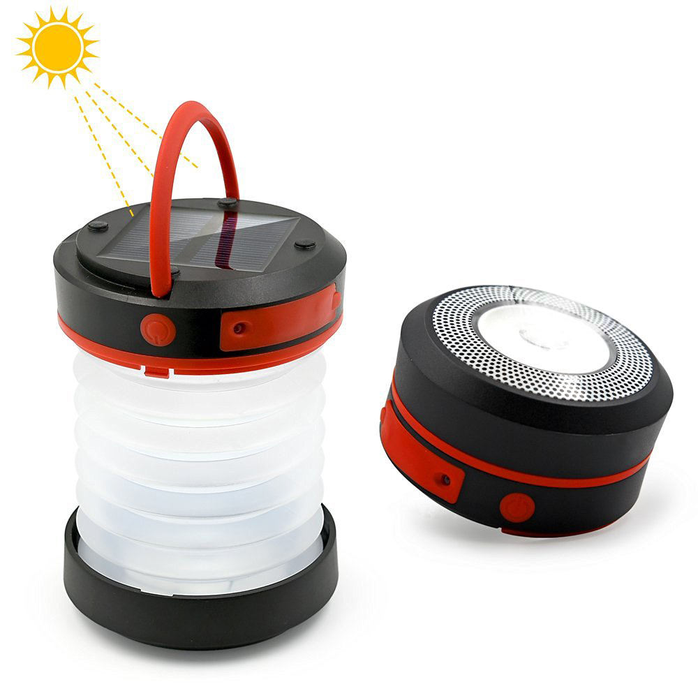 Multifunctional Camping Lantern/Solar Phone Charger/Foldable Pocket Flashlight with 3 Modes