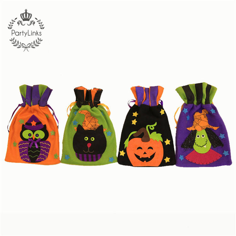 Witch Cat Drawstring Candy Bags Halloween Decoration Packaging Bag Gift Bags for Guests Store Decor Props Event Party Supplies