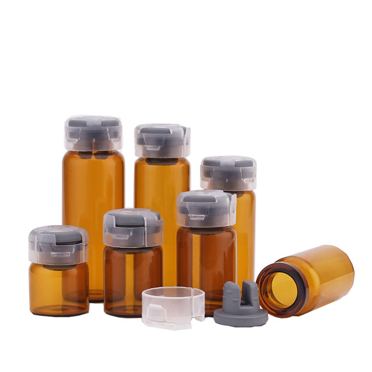 hot sale amber and clear 3ml 5ml 8ml 10ml crimp neck cosmetics glass vials with plastic cap and color rubber stopper