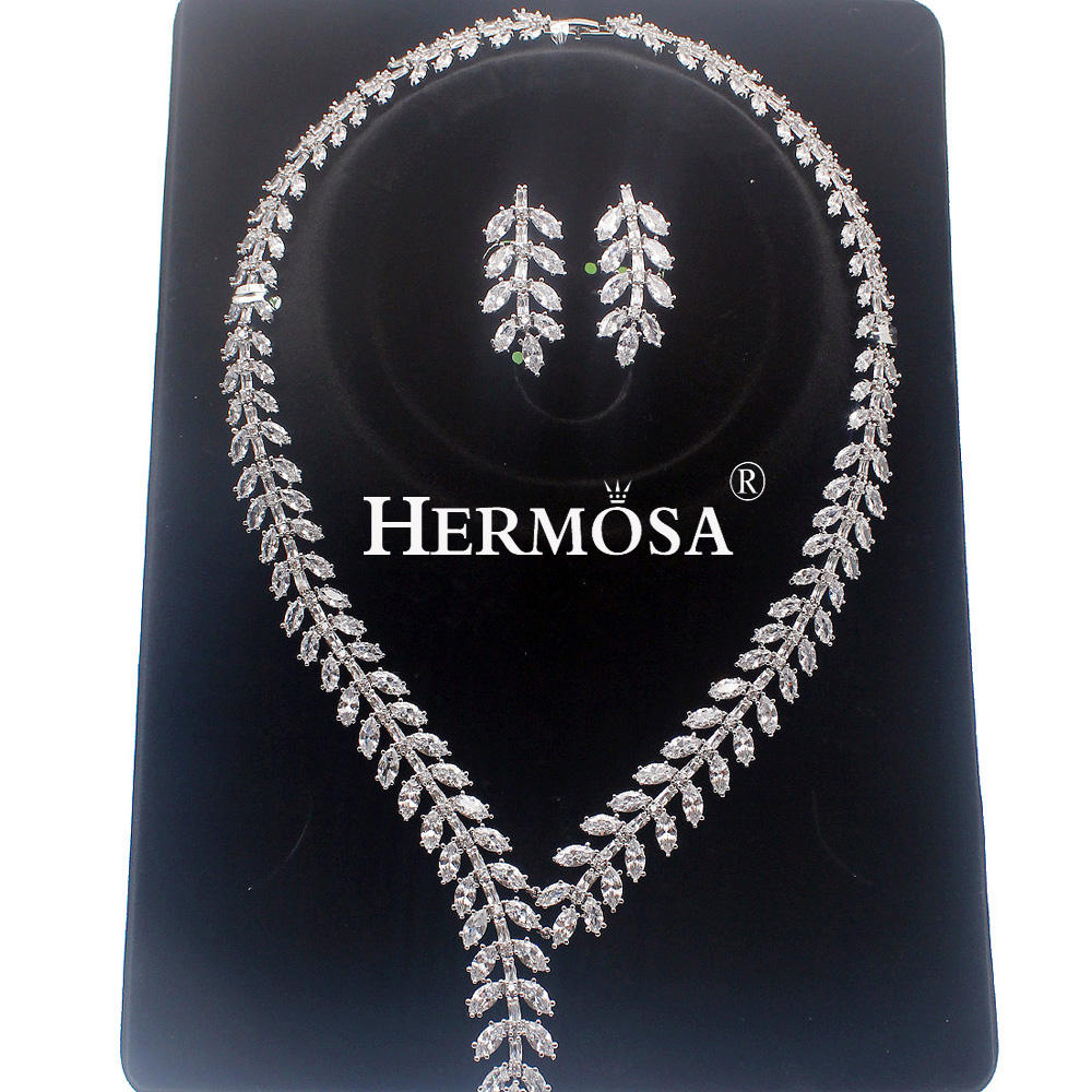 Hermosa Wholesale Shiny Gift Leaf Shape Bridal Wedding 925 Silver Shiny Necklace Earrings Party Jewelry Sets