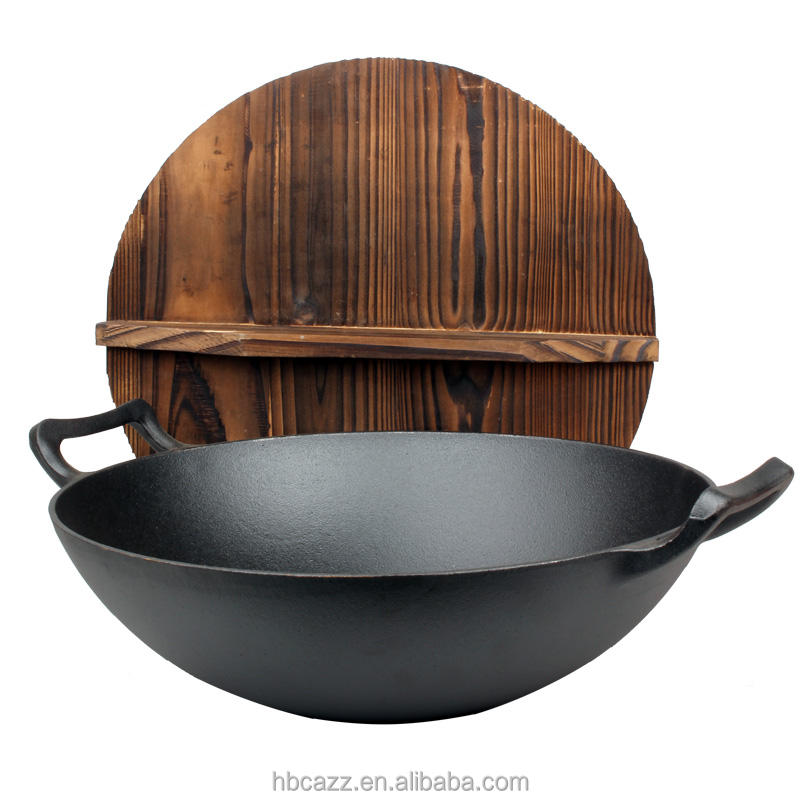 High Quality Chinese double handle cast iron wok