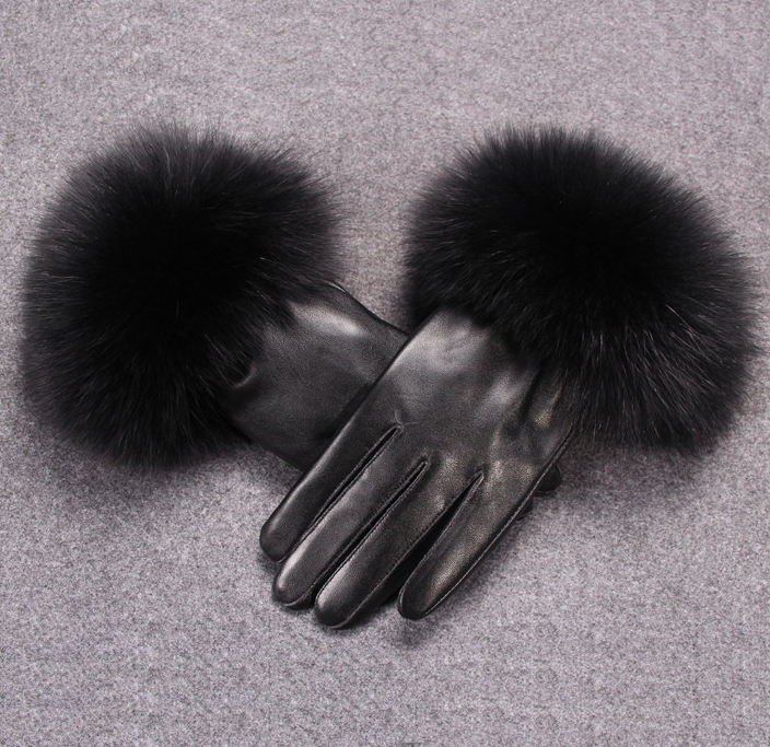 2019 top quality female black artificial fake fashion women ladies sheepskin mitten winter warm real fox fuzzy fur leather glove