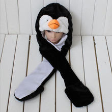 Promotion long ears hooded and scarf fur animal hat
