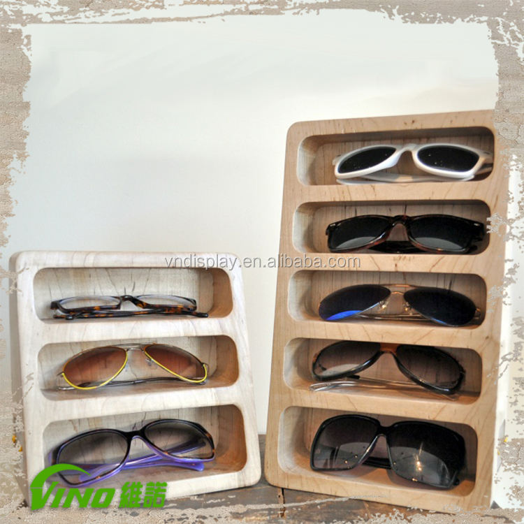 Fashionable Wooden Sunglasses Display Stand Case