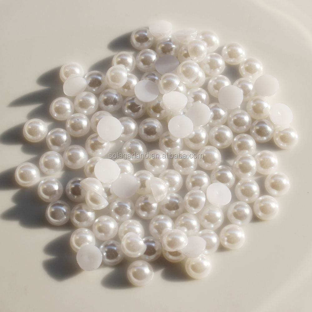 Factory Price 3mm Half Round Loose Flat Back Plastic Acrylic Fake Pearls Beads Cabochons for Craft DIY