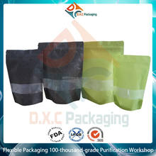 Printed Laminated Rice Paper Stand Up Bags With Window and Zipper