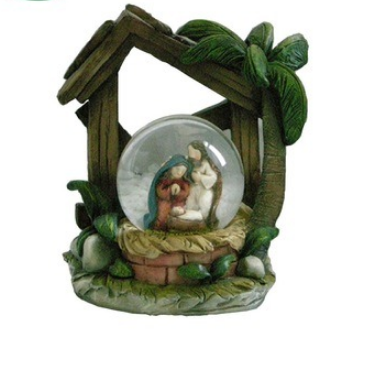 Polyresin Religious Christmas Decoration Nativity Water Snow Globe