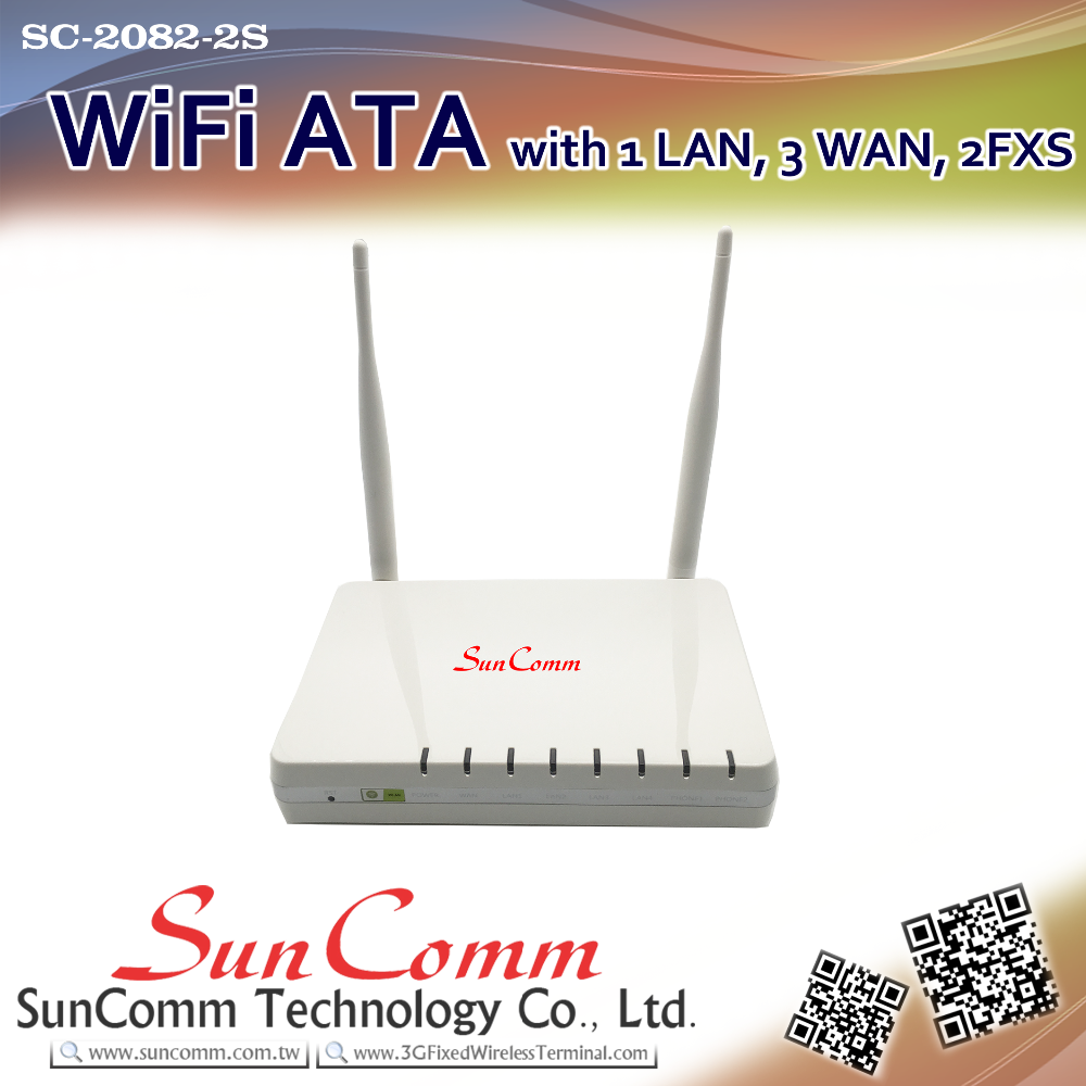 SC-2082-2S with 1 WAN, 3 LAN, 2 FXS WiFi VoIP ATA