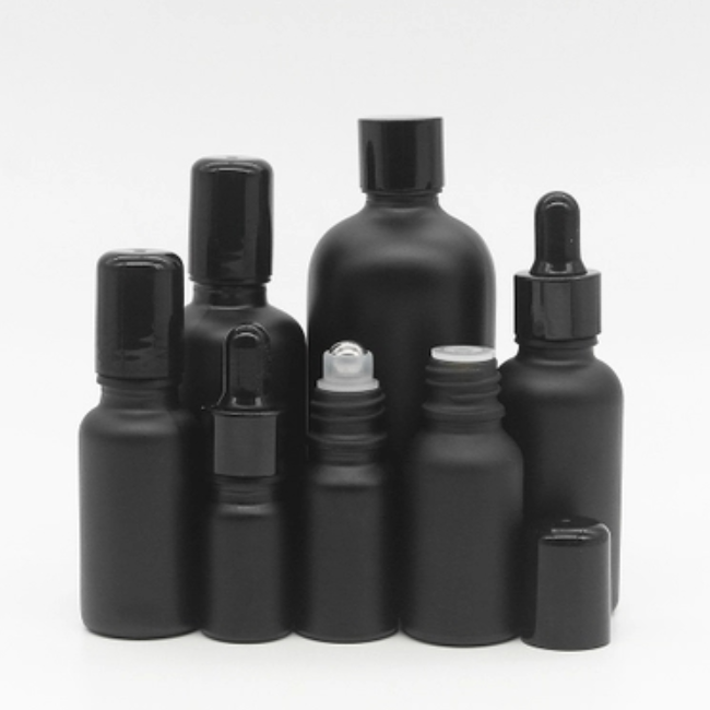 30ml 50ml 100ml matte black essential oil frosted glass bottle with dropper and roller