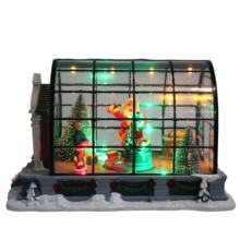 Indoor decor Battery Mult-Led lights up animated Santa New Arrives acrylic Christmas house box gift