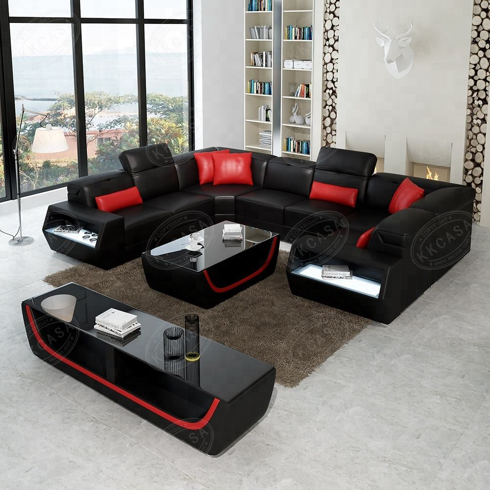 Living room High Quality U Shaped sofa sectional Germany Big Size Living Room Leather Sofa Exporers China
