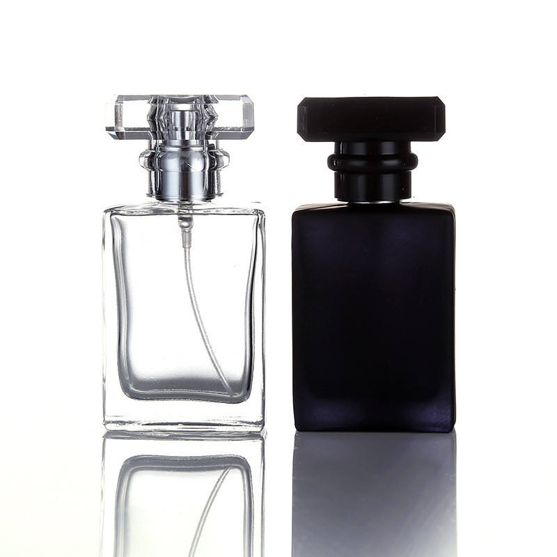 30ml 50ml Empty Refillable Square Glass Perfume Spray Bottle With Ps Cap