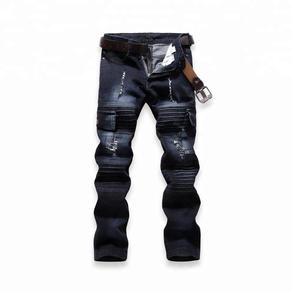 2018 blue man jeans straight causal biker jeans