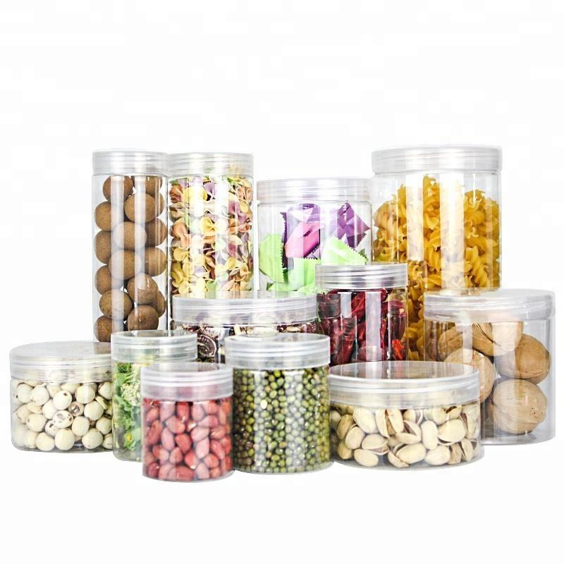 transparent dry food fruit PET plastic jar with Aluminum Lid or Plastic Lid