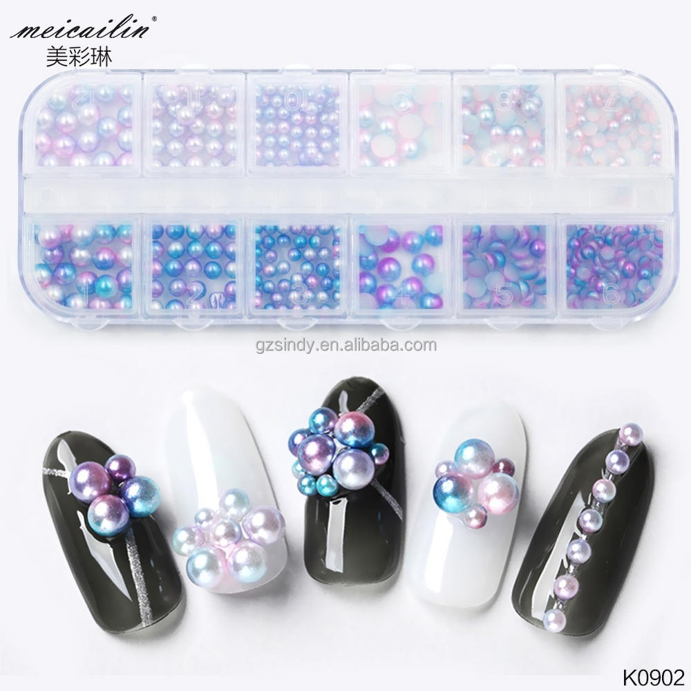 1box Mixed Size Beads Nail Art Mermaid Gradient Ball Pearl Circle Semicircle 3D DIY Nail
