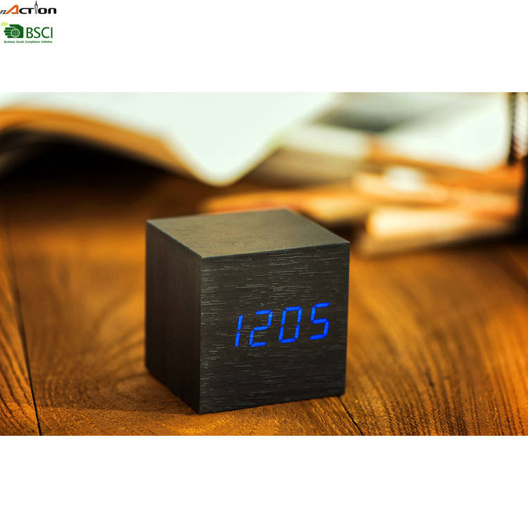 Gift 3 Alarms Cube Alarm LED Clock MDF Wooden LED Digital Alarm Clock