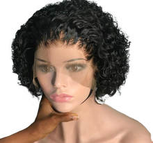 Populared Short Bob 180% Density Indian Human Hair Curly Lace Front Wigs For Black Women