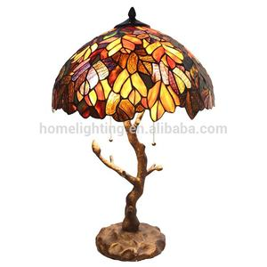 TFT-5246 tiffany style table lamps with glass shades tree trunk base led light table decoration
