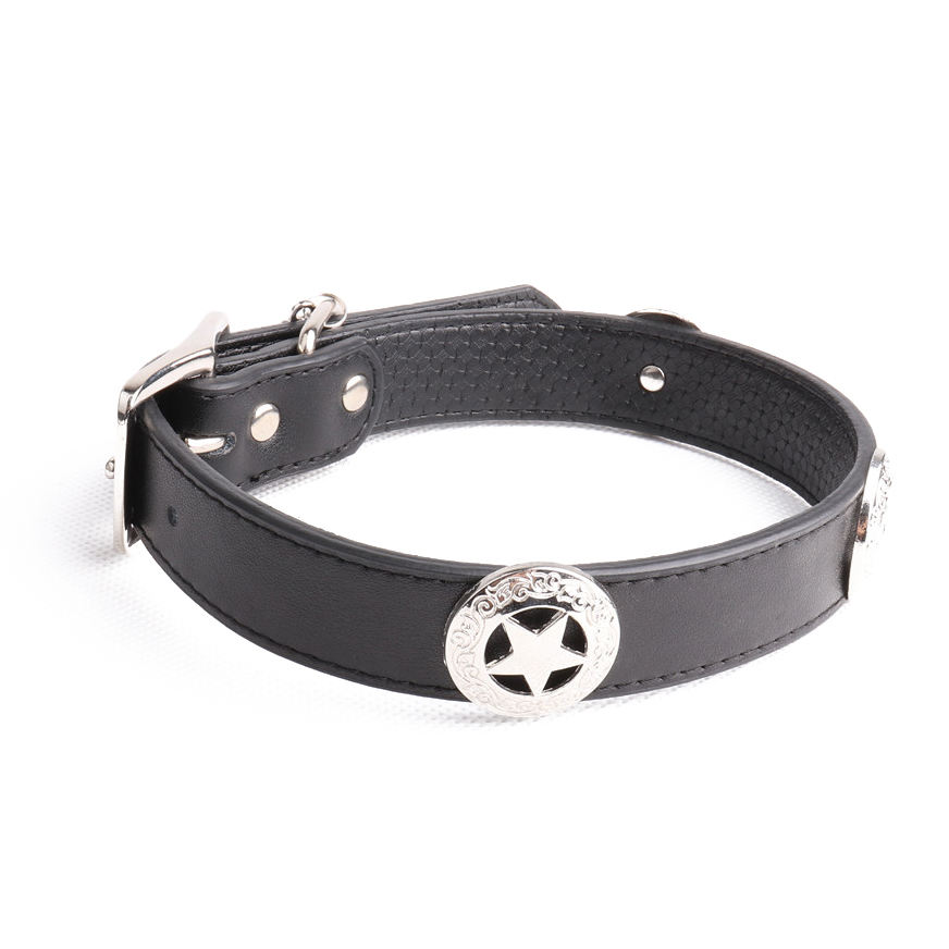 Hot selling five-star-shell hardware metal accessories in african leather bead dog collar for medium and large breed dogs