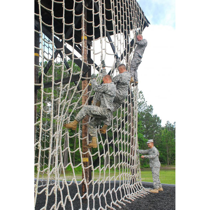 White rope high quality military cargo climbing playground climbing net