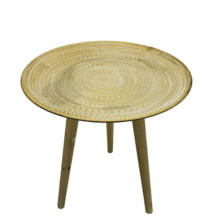 Modern wooden mdf small round tea coffee side table with 3 legs