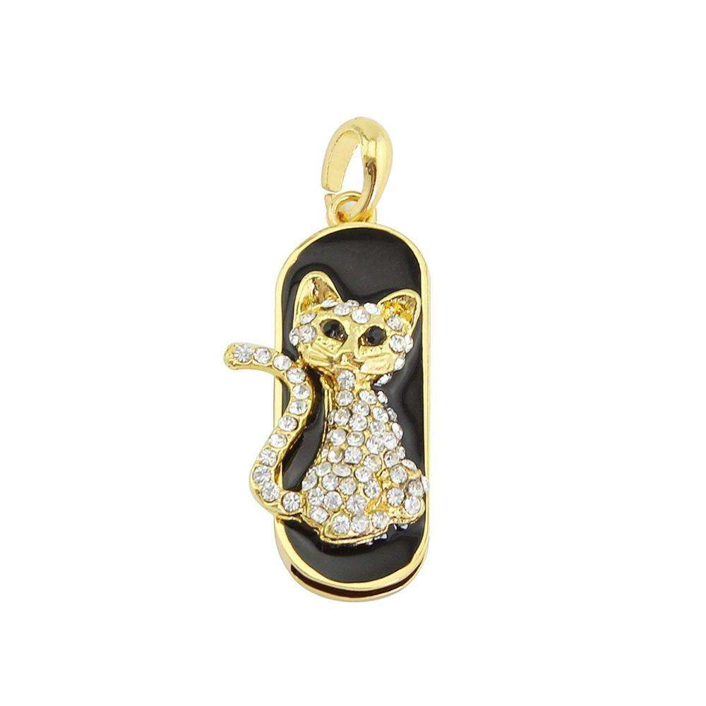 Diamond Crystal Cat Shape 64GB USB 2.0 Flash Drive Shining Jewelry Necklace Bling Jump Drive Xmax Gift