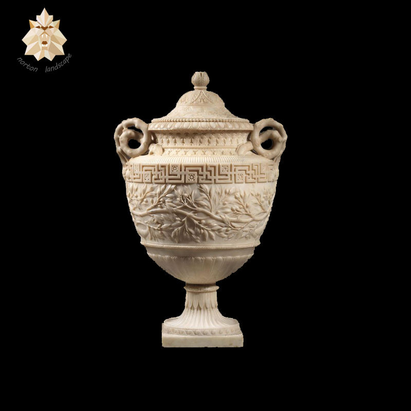 Polished yellow stone planter marble flower vase NTMFV-042Y