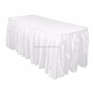 wholesale cheap White Double Drape Table Skirt / Satin - 17' for wedding banquet decoration
