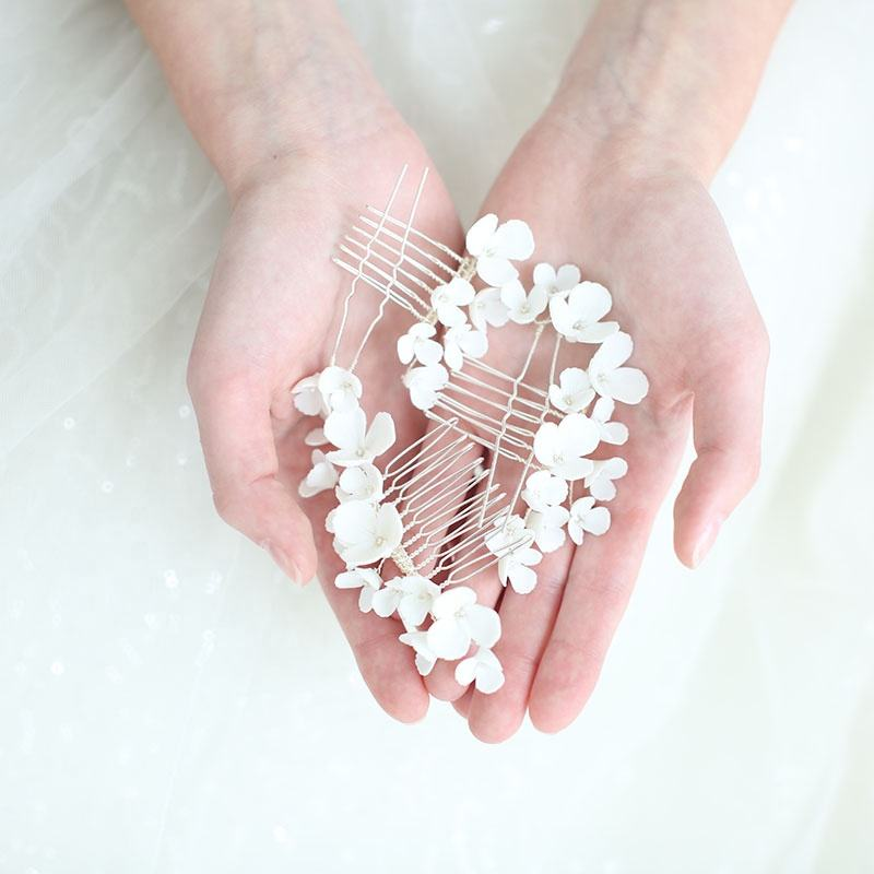 2019 Newest White Ceramic Flowers Bridal Accessories Hair Pin Handmade Women Wedding Hair Combs