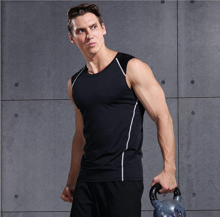 In Stock Custom Sleeveless Sports Casual Breathable Stretch Fitness Vest Gym Tank Top Men