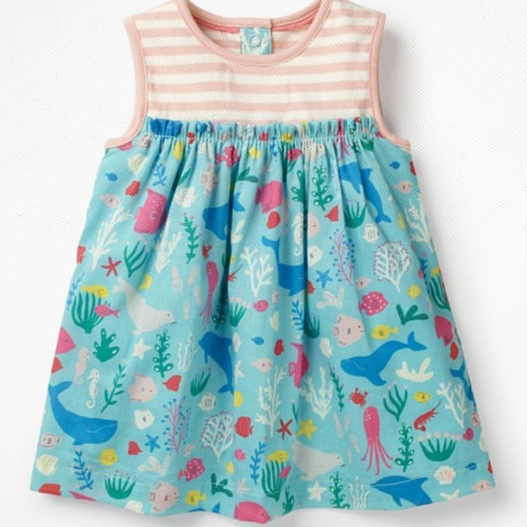 Wholesale sleeveless l fancy sea animal pattern little girl dress