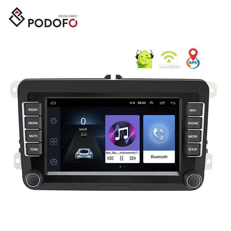 Podofo Android 7'' Autoradio 2 Din Car Radio Stereo MP5 Player GPS WIFI Bluetooth FM AM for VW PASSAT POLO GOLF 5 6 TOURAN