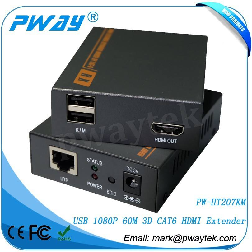 Fiber optique équipements de signaux HDMI 1080 P et clavier / souris <span class=keywords><strong>Signal</strong></span> plus CAT6 câble d'extension