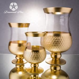 wholesale different types handmade home goods set of three decoration modern golden mercury vase