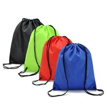 High quality pu corner customized logo printed nylon drawstring backpack bag