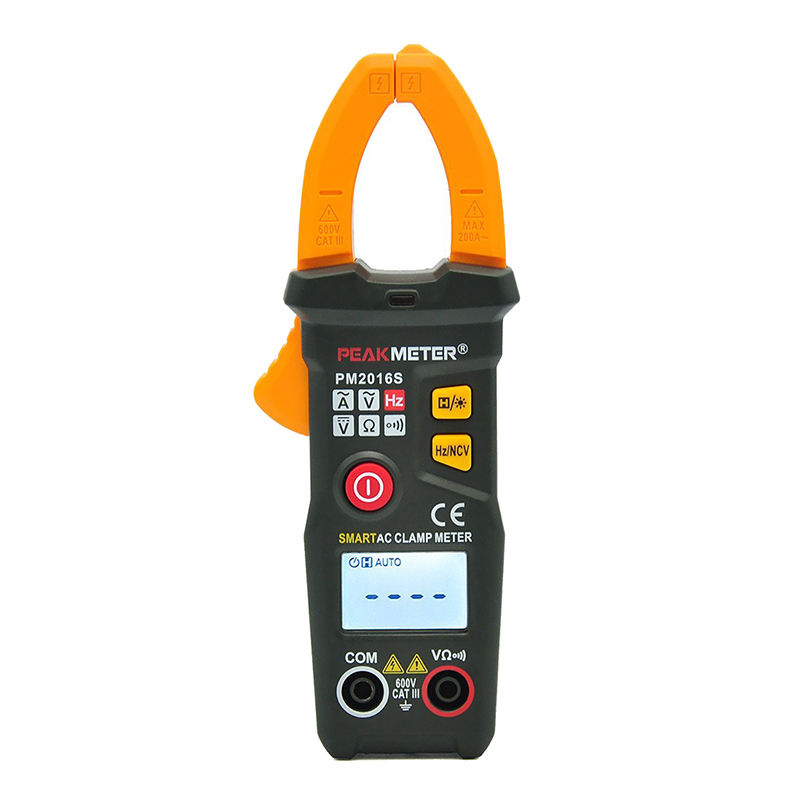Peakmeter 6000 Counts Mini Digital Clamp Meter With Non Contact Voltage Connector