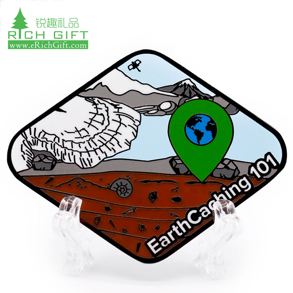 Hot sale custom rhombus shape double face design environmental protection Earth Save GeoTours hard enamel metal challenge coin
