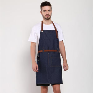 Chef blue denim bib work apron with pockets for men and women